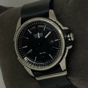 Citizen Men's Leather Black Dial Quartz Watch E466